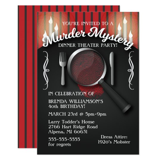 Murder Mystery Dinner Theater Party Invitation