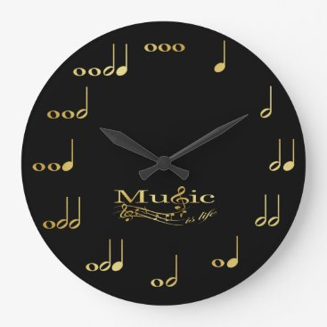 Music Notes - Music is Life - Black and Gold Large Clock
