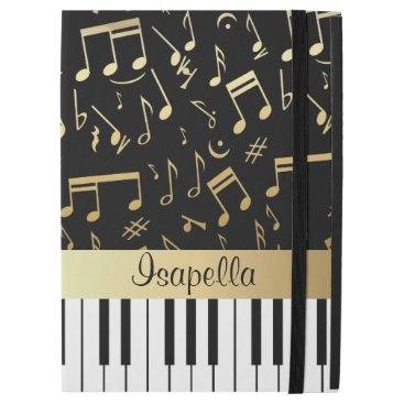 """Musical Notes and Piano Keys Black and Gold iPad Pro 12.9"""" Case"""