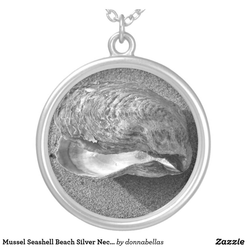Mussel Seashell Beach Silver Necklace Pendant