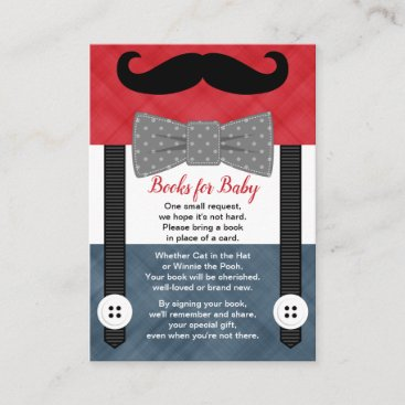 mustache baby shower boy red navy books for baby enclosure card