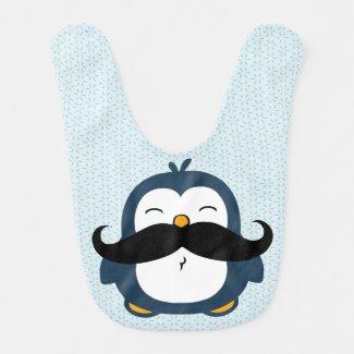 Mustache Penguin Baby Bib