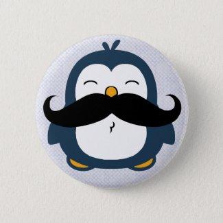 Mustache Penguin Button