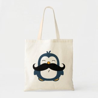 Mustache Penguin Canvas Bag