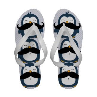 Mustache Penguin Sandals
