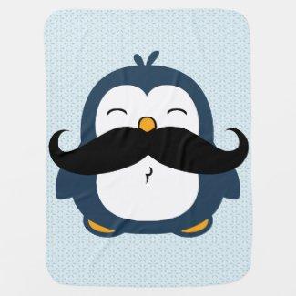 Mustache Penguin Swaddle Blankets