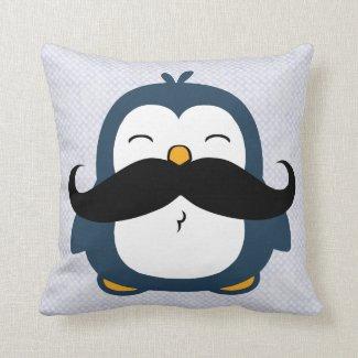 Mustache Penguin Throw Pillows