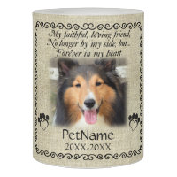 My Faithful Friend Pet Sympathy Custom Burlap Flameless Candle