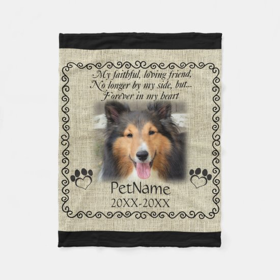 My Faithful Friend Pet Sympathy Custom Burlap Fleece Blanket