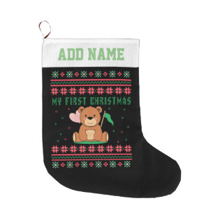 My First Christmas Ugly Xmas Sweater Teddy Bear Large Christmas Stocking
