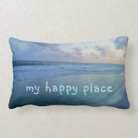 My Happy Place is at Eric's Beach Lumbar Pillow