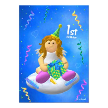 My Little Angel: First Birthday Invitation