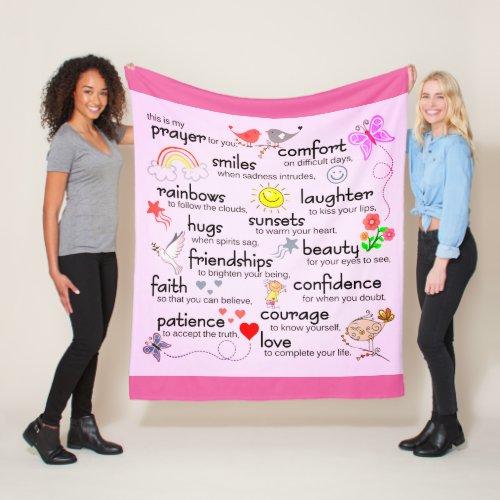 My Prayer For You   Hot Pink Fleece Blanket