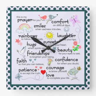 My Prayer For You Square Wall Clock