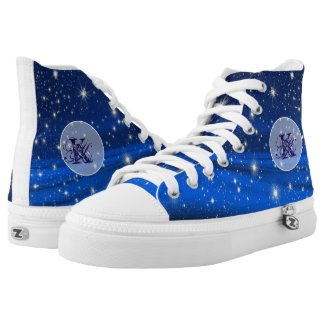 Mystical Blue Sky Stars Monogram shoes Printed Shoes