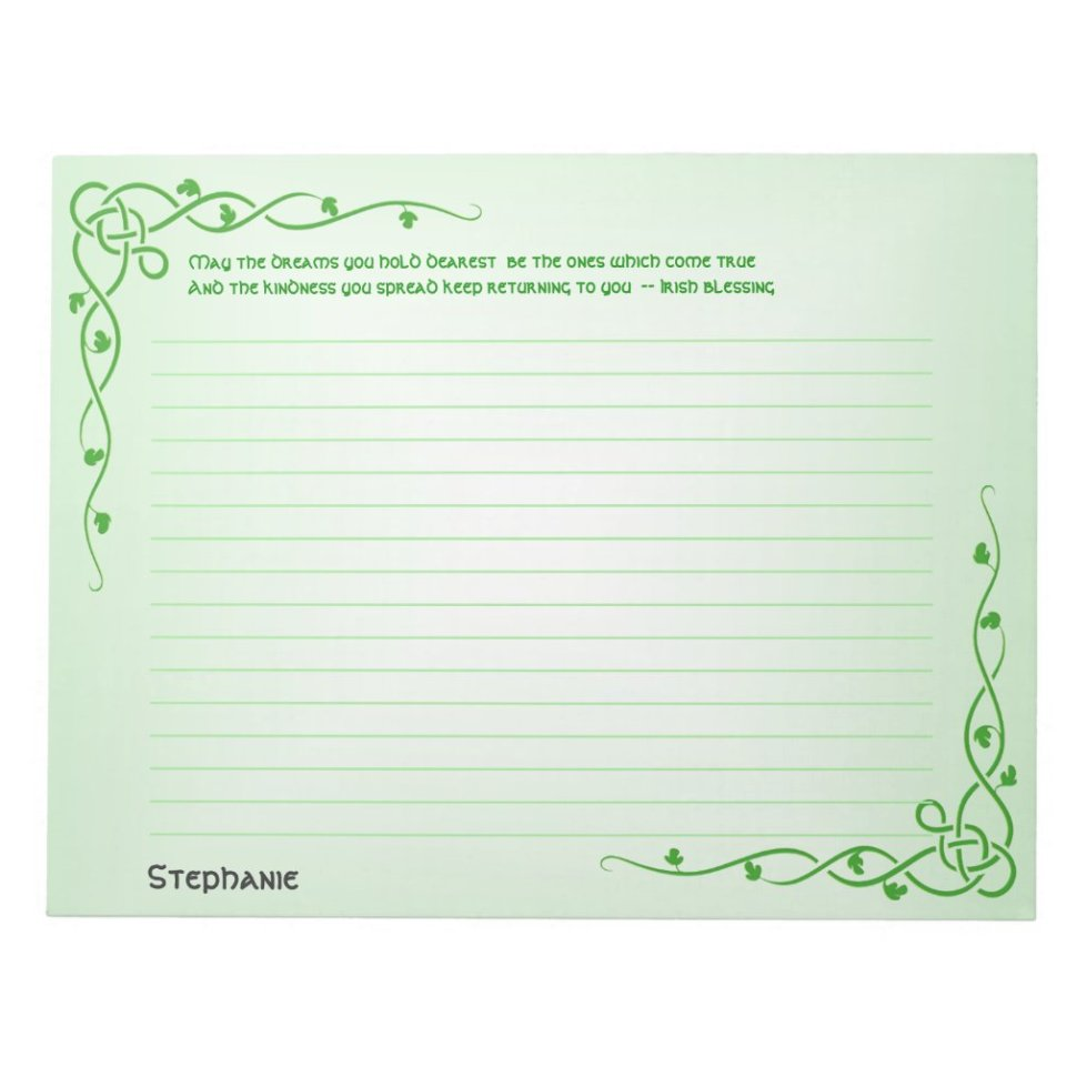 Name: St Patrick Irish Blessing (#1) Celtic Braids Notepad