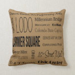 Names Of Places In Downtown Denver, CO Throw Pillow