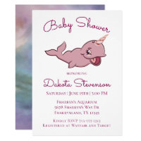 Narwhal Baby Shower | Pink Colorful Watercolor Card