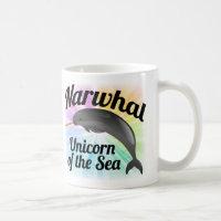 Narwhal Unicorn of the Sea, Cute Rainbow Coffee Mug