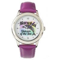 Narwhal Unicorn of the Sea, Cute Rainbow Wrist Watch