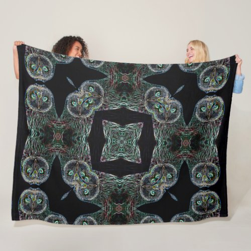 Native Shaman Owl Spirit Mandala Fleece Blanket