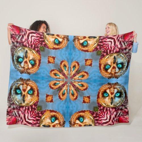 Native Shaman Owl Spirit Totem Mandala Fleece Blanket