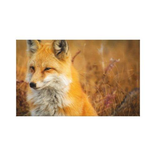 Natural Autumn tonal earthy oranges fox in field Canvas Print