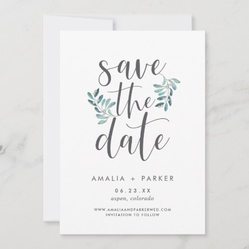 Natural Greenery | Modern Botanical Save The Date