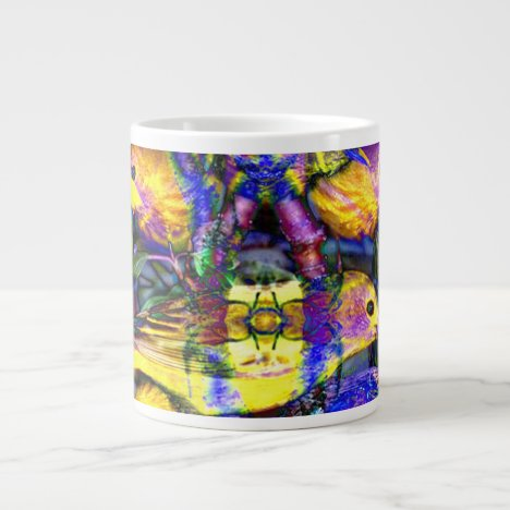 Nature Reflections II - Violet & Gold Birds Large Coffee Mug
