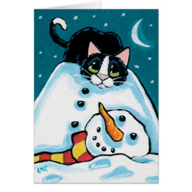 Naughty Tuxedo Cat and Headless Snowman Greeting Card