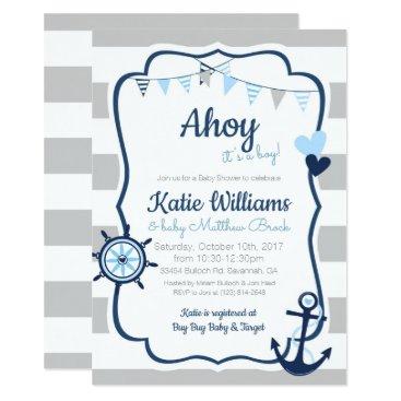 Nautical Anchor Blue Boy Baby Shower Invitation