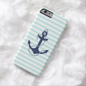 Nautical Aqua & White Stripes Navy Blue Anchor Barely There iPhone 6 Case