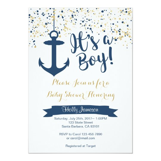 Nautical Baby Shower Invitation Navy And Gold