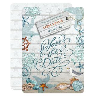 Nautical Beach Wedding   Save the Date Card