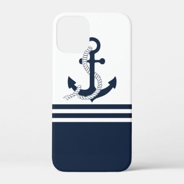 Nautical blue anchors with blue and white stripes iPhone 12 mini case