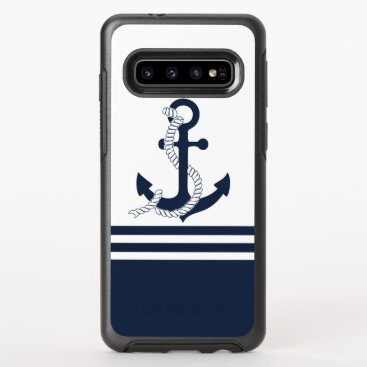 Nautical blue anchors with blue and white stripes OtterBox symmetry samsung galaxy s10 case