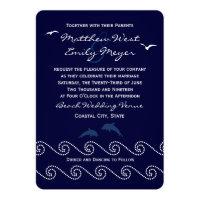 Nautical Blue Ocean Waves Wedding Invitation