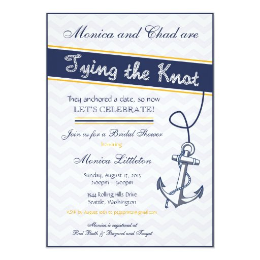 Nautical Themed Wedding Shower Invitations