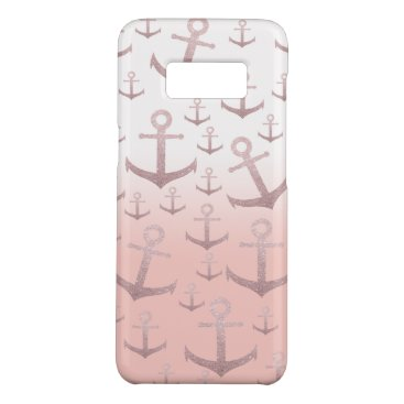 Nautical coral rose gold glitter anchor pattern Case-Mate samsung galaxy s8 case