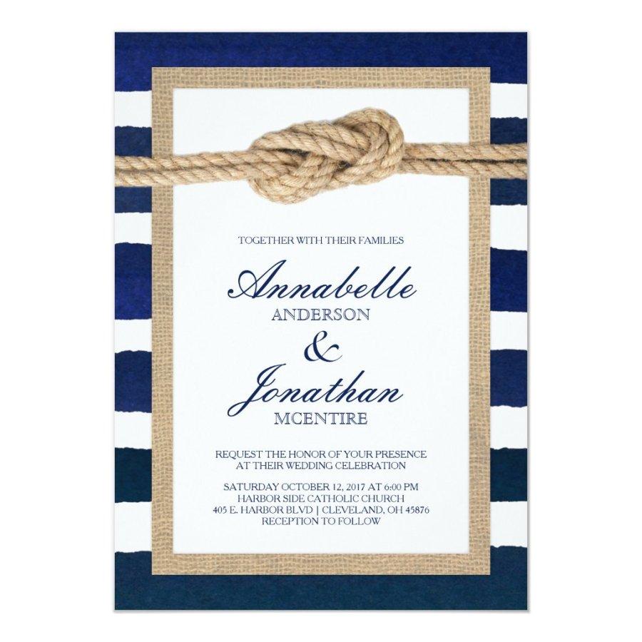 Nautical Knot Burlap & Watercolor Navy Stripes
