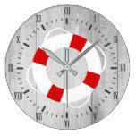 Nautical Life Saver Buoy & Gray Wood Print Large Clock