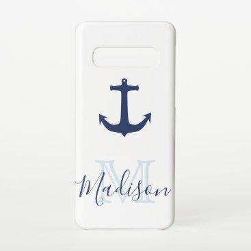 Nautical Navy Anchor Sail Cool Initial Name Samsung Galaxy S10 Case