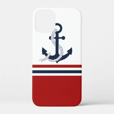 Nautical Navy Blue Anchor Blue White Red Stripes iPhone 12 Mini Case