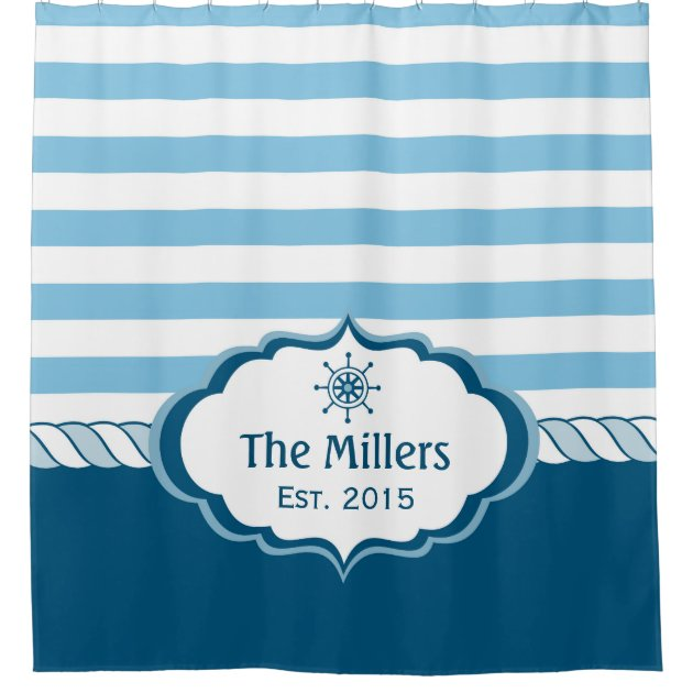 nautical navy blue stripes helm logo personalized shower curtain