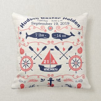 Nautical Navy Coral Boy Nursery Baby Birth Stat Pillow