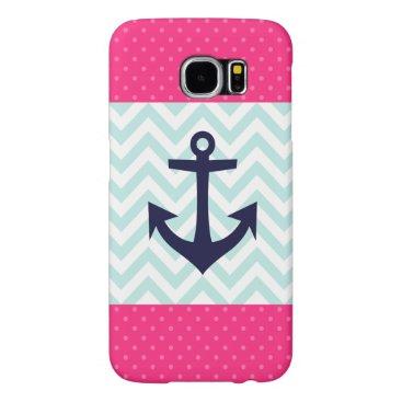 Nautical Pink White Mint Chevron Anchor Pattern Samsung Galaxy S6 Case