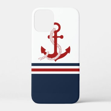 Nautical Red Anchor Red White Blau Stripes iPhone 12 Mini Case