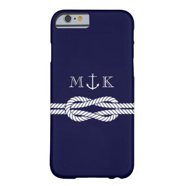 Nautical Rope and Anchor Monogram in Navy Barely There iPhone 6 Case