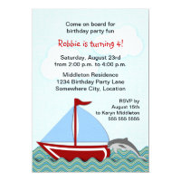 Nautical Sailboat Birthday Party Card