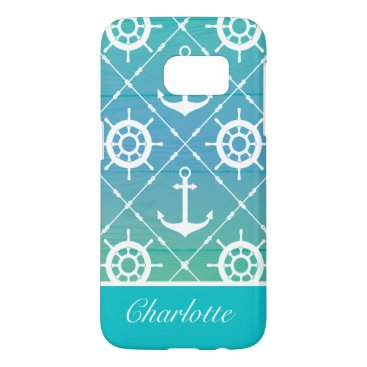 Nautical turquoise personalized samsung galaxy s7 case